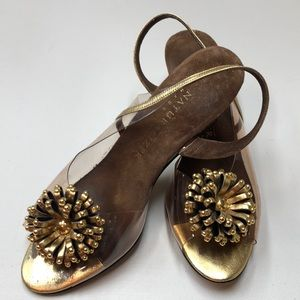 Vintage Gold & Clear Plastic Sandals